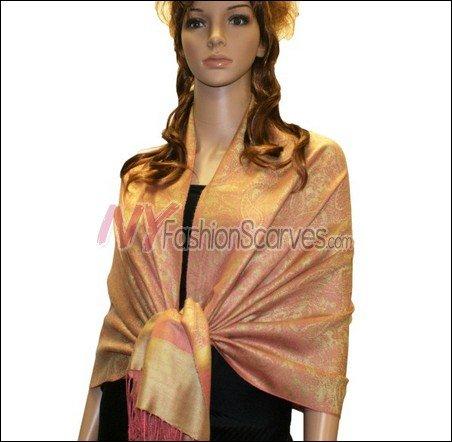 Paisley Jacquard Pashmina<br>Orange w/ Yellow