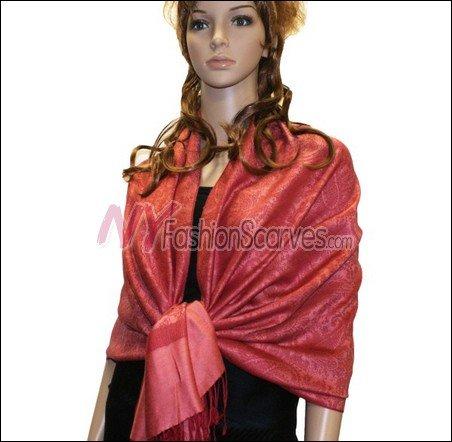 Paisley Jacquard Pashmina<br>Baby Red