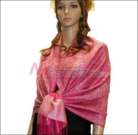 Paisley Jacquard Pashmina<br>Hot Pink w/ Light Pink