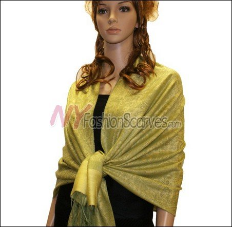 Paisley Jacquard Pashmina<br>Lime w/ Yellow