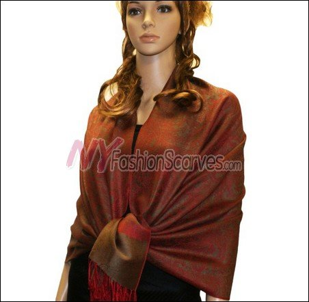 Paisley Jacquard Pashmina<br>Beown w/ Dark Red