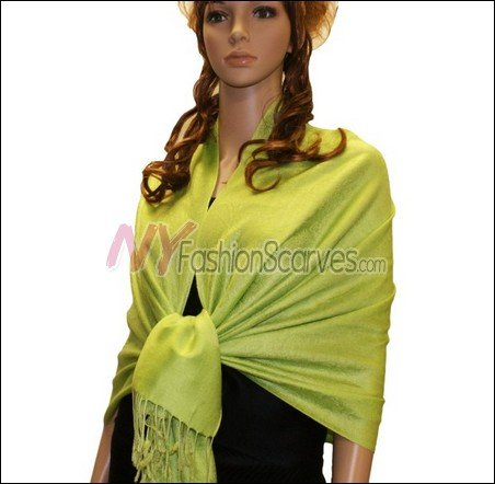 Paisley Jacquard Pashmina<br>Bright Green