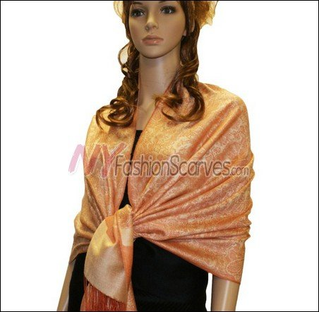 Paisley Jacquard Pashmina<br>Light Orange
