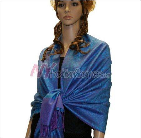 Paisley Jacquard Pashmina<br>Bright Blue w/ Purple