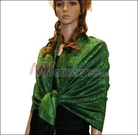 Paisley Jacquard Pashmina<br>Green w/ Black