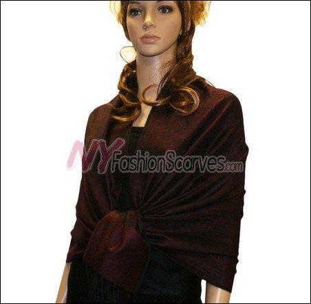 Paisley Jacquard Pashmina<br>Burgundy w/ Black