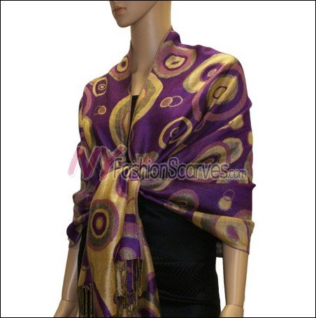 Multi Colored Circle Pashmina <br>Violet