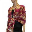 Multi Colored Circle Pashmina <br>Fuchsia Red