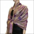 Metallic Paisley Pashmina <br>Purple