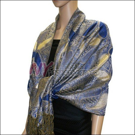 Metallic Paisley Pashmina <br>Royal Blue