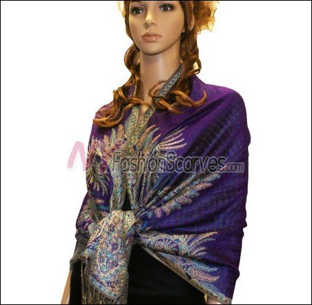 Big Paisley Thicker Pashmina <br>Purple