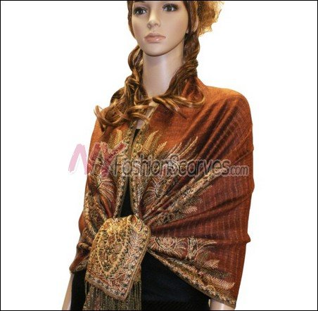 Big Paisley Thicker Pashmina <br>Rust Brown