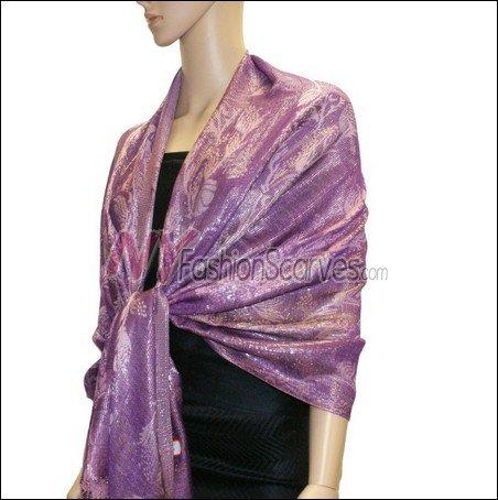 Metallic Stem Flower Shawl - Purple