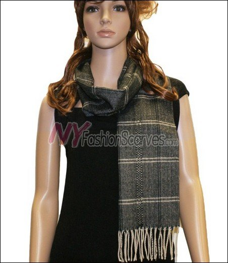 Plaid Cashmere Feel Scarf <br>NY14-01