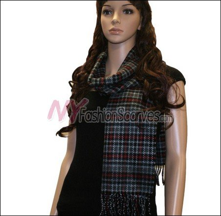 Checker Cashmere Feel  Scarf <br>NY38-04