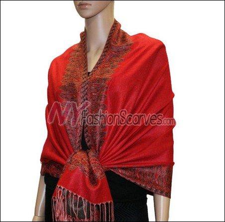 Border Patterned Pashmina<br>Red