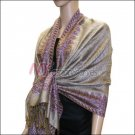 Border Patterned Pashmina<br>Light Brown w/ Purple