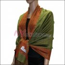 Border Patterned Pashmina<br>Grass Green