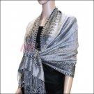 Border Patterned Pashmina<br>Silver