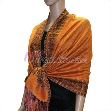 Border Patterned Pashmina<br>Orange