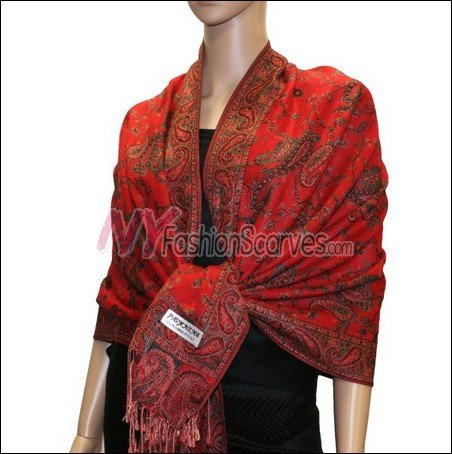 Small Paisley Pashmina <br>Red