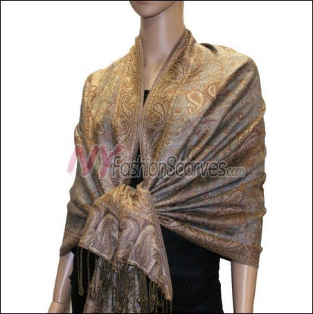 Small Paisley Pashmina <br>Beige