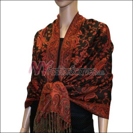 Small Paisley Pashmina <br>Black/Red