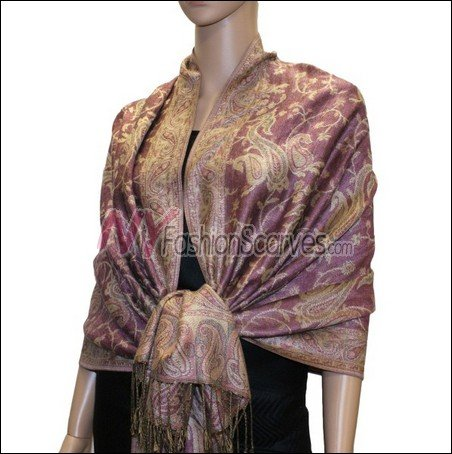 Small Paisley Pashmina <br>Pale Violet Red