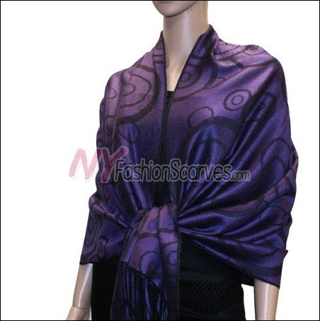 Multi Circle Soft Pashmina <br>Black w/ Purple