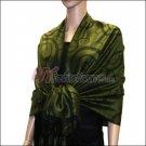 Multi Circle Soft Pashmina <br>Black w/ Army Green