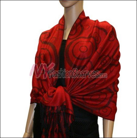 Multi Circle Soft Pashmina <br>Black w/ Red