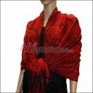 Multi Circle Soft Pashmina <br>Black w/ Red