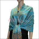 Multi Circle Soft Pashmina <br>Tan w/ Peacock Blue