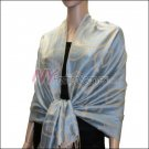 Multi Circle Soft Pashmina <br>Light Tan w/ Sky Blue