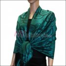 Multi Circle Soft Pashmina <br>Black w/ Teal