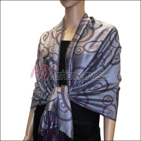 Multi Circle Soft Pashmina <br>Purple w/ Light Grey