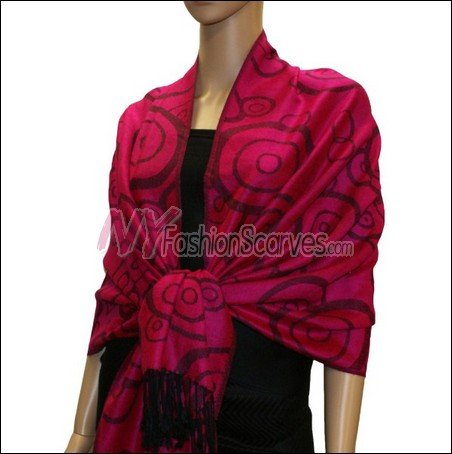 Multi Circle Soft Pashmina <br>Violet Red
