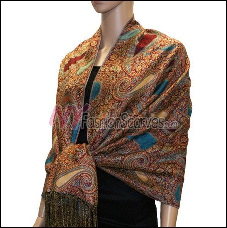 Multi Colored Paisley Pashmina <br>Red/Turquoise