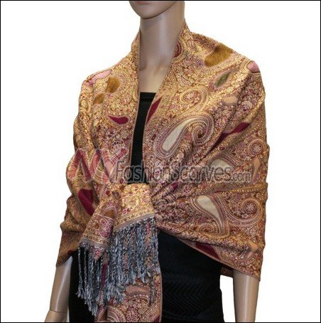 Multi Colored Paisley Pashmina <br>Burgundy