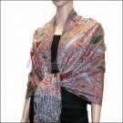 Multi Colored Paisley Pashmina <br>Army Green w/ Red