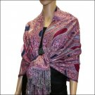 Multi Colored Paisley Pashmina <br>Magenta w/ Royal Blue