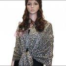 Leopard Print Pashmina Shawl Grey