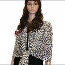 Leopard Print Pashmina Shawl <br>White/Brown