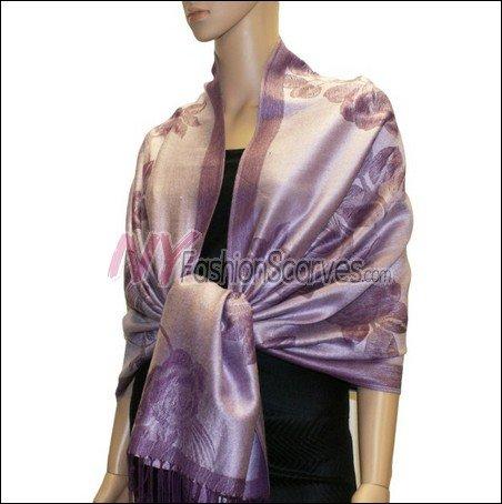 Rose Pattern Pashmina <br>Light Purple