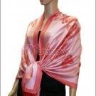 Rose Pattern Pashmina <br>Red w/ Pink