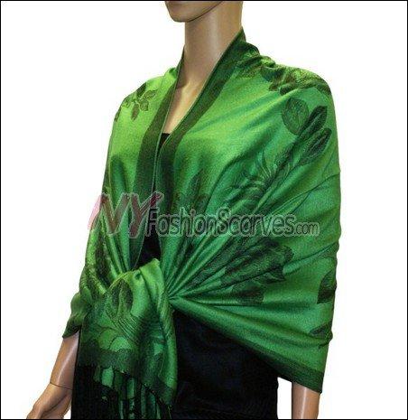 Rose Pattern Pashmina <br>Green