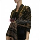 Paisley Pattern Scarf <br>Tan w/ Black