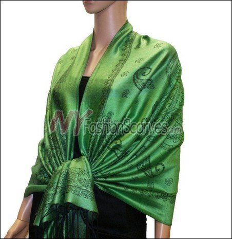 Paisley Pattern Scarf <br>Green