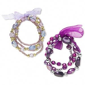 2 Bracelets -acrylic, glass and organza ribbon, purple/lavender/gold/silver 7-1/2 inch