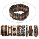 4 Bracelet assortment, wood (D/C) and acrylic, mixed shapes/colors/styles, 7-10 inches.